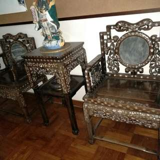 A pair of Armchair with matching table (with mother of pearls )