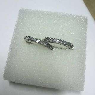 10k White Gold Loop Diamond Earrings