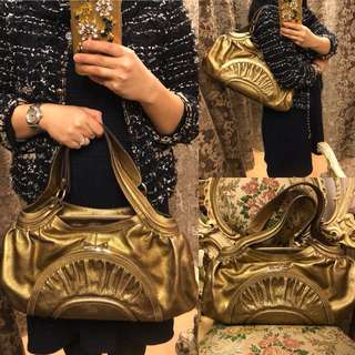 Anya hindmarch gold leather handbag