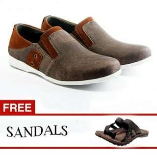 Sepatu Denim Coklat Pria Free sandal Sendal Salvo