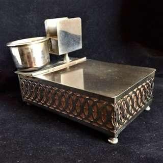 ANTIQUE CHROME PLATED LADOR CIGARETTE MUSIC BOX