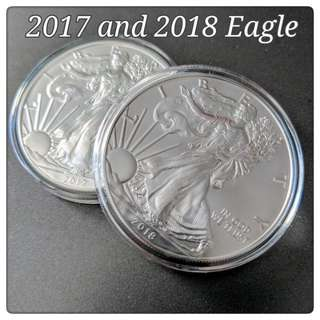 2017 and 2018 American Eagle Silver Coin set of 2