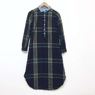 日系 森林系長版洋裝襯衫