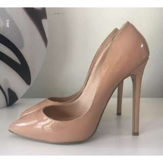 Tony Bianco Leola Nude Patent Leather Heels Size 8