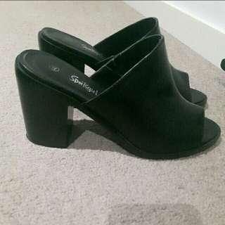 Black open toe heels/mule sandals (PM offer)