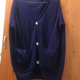 🚚 百搭素色針織外套(藍色)