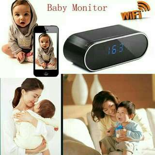 Baby monitor Hidden Clock Camera with WiFi networks connect to Mobile phone apps.