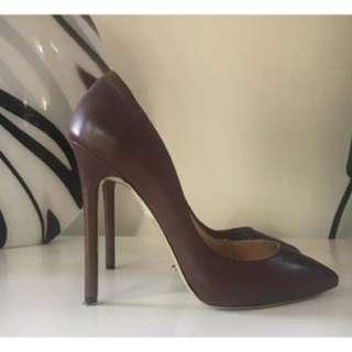 Tony Bianco Leola Burgundy Red Capretto Leather Heels Size 8