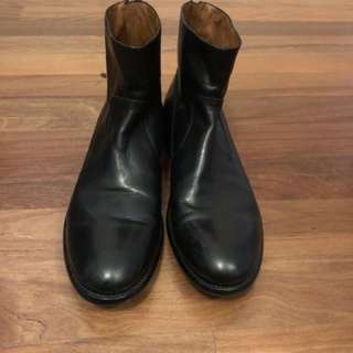 Men's black Italian leather ankle boots size 45