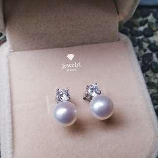 天然淡水珍珠耳環 x 水鑽 x s925純銀