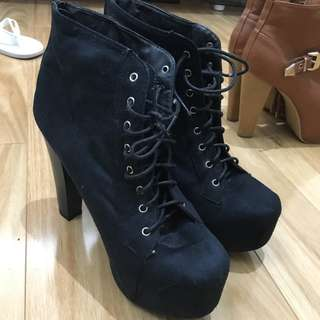 High-heeled Lace-up Boots