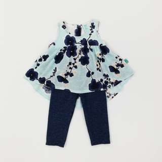 Blue Flower Bustle Top with Denim Legging