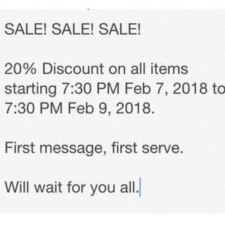 20% Discount on ALL Items