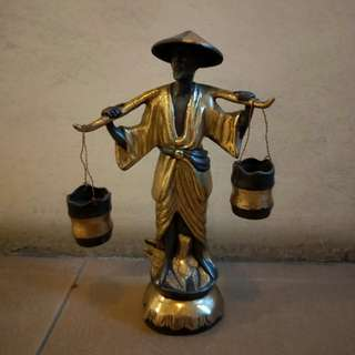 Vintage Asian Chinese solid brass metal figurine statue Man carrying water bucket