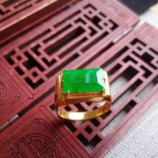 翡翠A貨完美種好水潤細膩滿色滿綠託銅戒指特惠包郵順豐,配送證書,編號0150
