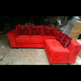 Sofa L FREE MEJA TEMPERED