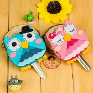 Couple keychain DIY owl set handmade