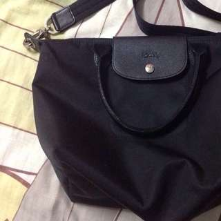 Longchamp Neo Small Black with long strip