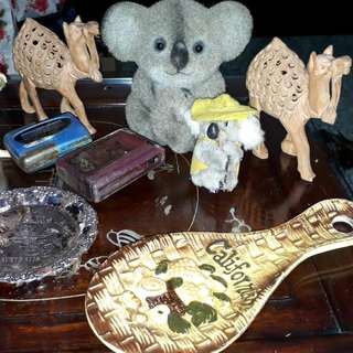 vintage solid teddy bear of solid metal covered by leather / pagers/deco plate / deco spoon /deco toy  /deco camels are sold as individual price