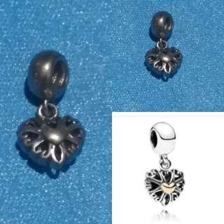 Pandora inspired heart openwork pendant