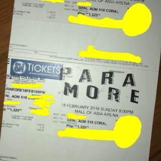 Paramore General Admission Tickets