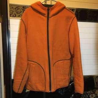 雙面拉鏈連帽外套 double layer reverse zip jacket 橙色 綠色
