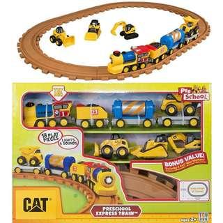BNIB: Toy State Caterpillar CAT Buildin' Crew Pre-School Express Train Light & Sound Vehicle with 3pcs Mini Machines