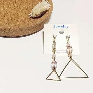 水晶串三角耳環