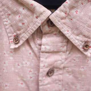 Kemeja Sugar Cane - Floral Pattern Pink Shirt size M