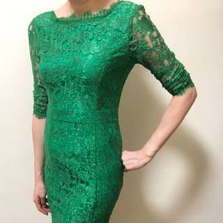 BN green lacy sexy back dress
