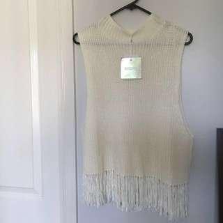 💘Missguided Size 10 Sleeveless White Fringe Jumper*