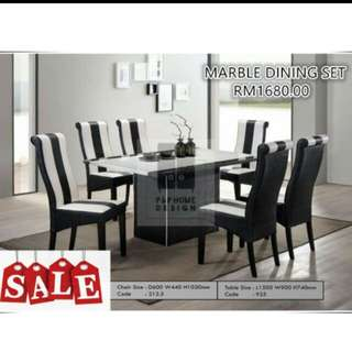 Dining Set 1+6 (Marbel top)