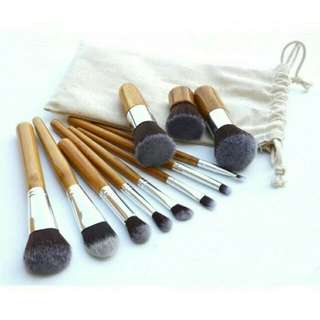 bamboo make up brush set kuas 11 set with pouch
