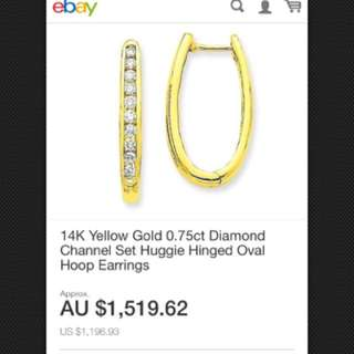 14K Yellow Gold 0.75ct Diamond Channel Set Huggie Hinged Oval Hoop Earrings