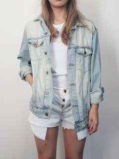 ASOS pale blue distressed denim jacket size 6 8 10