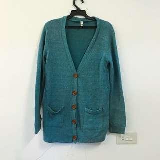 🚚 直排木紋扣針織外套(藍)#大掃除五折