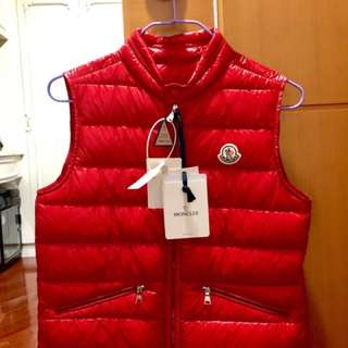 Moncler red down coat