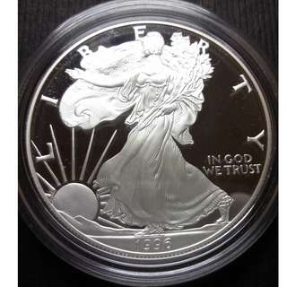 1996 United States American Silver Eagle .999 Silver Dollar 1 Oz w/Original Box 美國銀鷹.999千足純銀幣 1 盎司