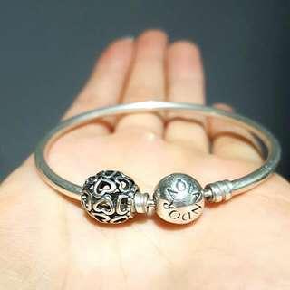 Pandora Sterling Silver Charm & Bangle