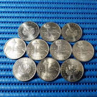 10X 1981 Singapore Changi Airport $5 Cupro-Nickel Commemorative Coin ( Lot of 10 Pieces )