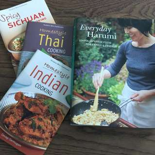 Cooking books for Japanese, Indian, Thai and Sichuan food