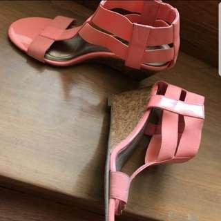 Peach wedge sandals