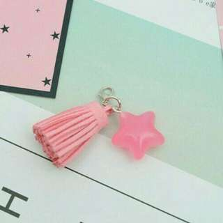 Hanging tassel with star accesories for mobile phone