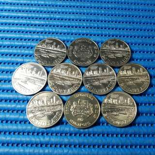 10X 1982 Singapore Benjamin Sheares Bridge $5 Cupro-Nickel Commemorative Coin ( Lot of 10 Pieces )