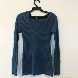 🚚 抗直條口袋造型連帽上衣(藍)#大掃除五折