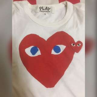 SZ S Small Women Comme Des Garcons CDG Play Big Heart T Shirt Tee Blue Eyes 100% AUTHENTIC