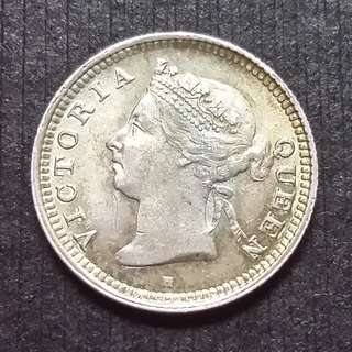 1900 Hong Kong (British) Queens Victoria silver 5 Cents  香港 維多利亞銀幤 五仙