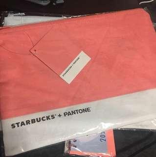 [ ONLY 1 ] Sealed Instock Starbucks korea Pantone pouch zip sunset blush