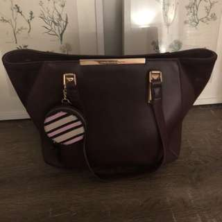 Colette burgundy handbag with free coin pouch
