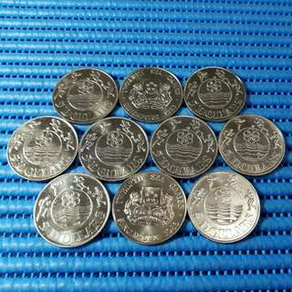 10X 1983 Singapore Twelvth SEA Games $5 Cupro-Nickel Commemorative Coin ( Lot of 10 Pieces )